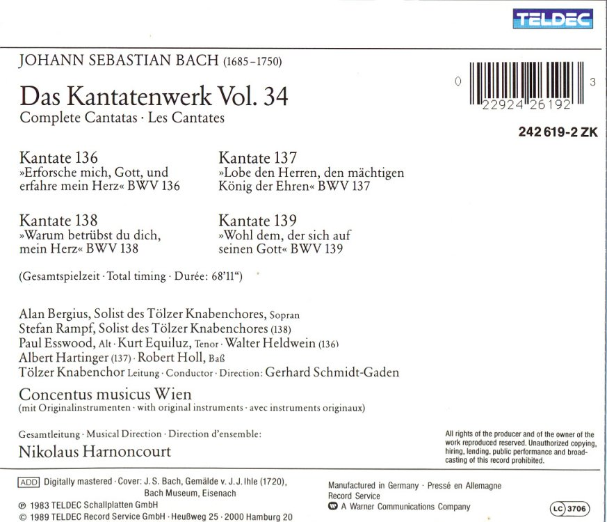 Cantata BWV 136 - Details & Discography Part 1: Complete Recordings